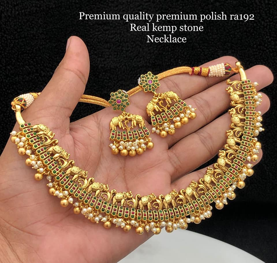 Beautiful one gram gold elephant motif choker with matching earrings. one gram gold designs 1 gram gold chains online 1 gm gold chain designs