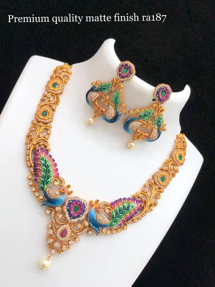 Gorgeous one gram gold peacock necklace with matching earrings. 1gm gold jewellery one gram gold necklace one gram jewellery with price