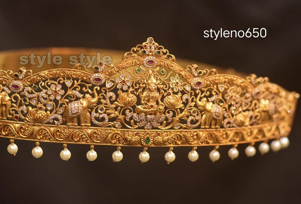 Beautiful one gram gold elephant motif and Lakshmi devi vadanam. 1 gram gold sets with price latest 1 gram gold jewellery 1gm jewellery designs