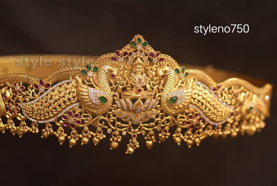 Beautiful one gram gold peacock motif and Lakshmi devi vadanam. 1 gram gold sets with price latest 1 gram gold jewellery 1gm jewellery designs