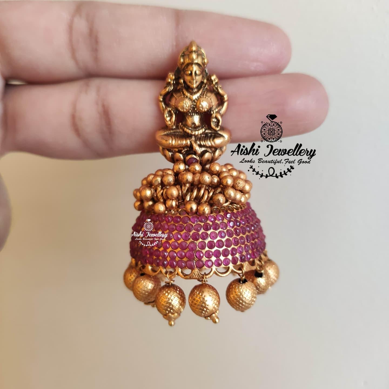 Beautiful one gram gold Lakshmi devi jumkhi.