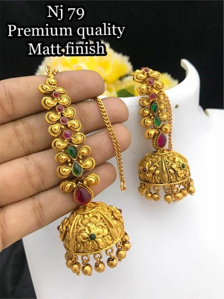 Beautiful one gram gold jumkhi studded with multi color stones. 1 gram temple jewellery one gram gold earrings online shopping antique one gram gold jewellery