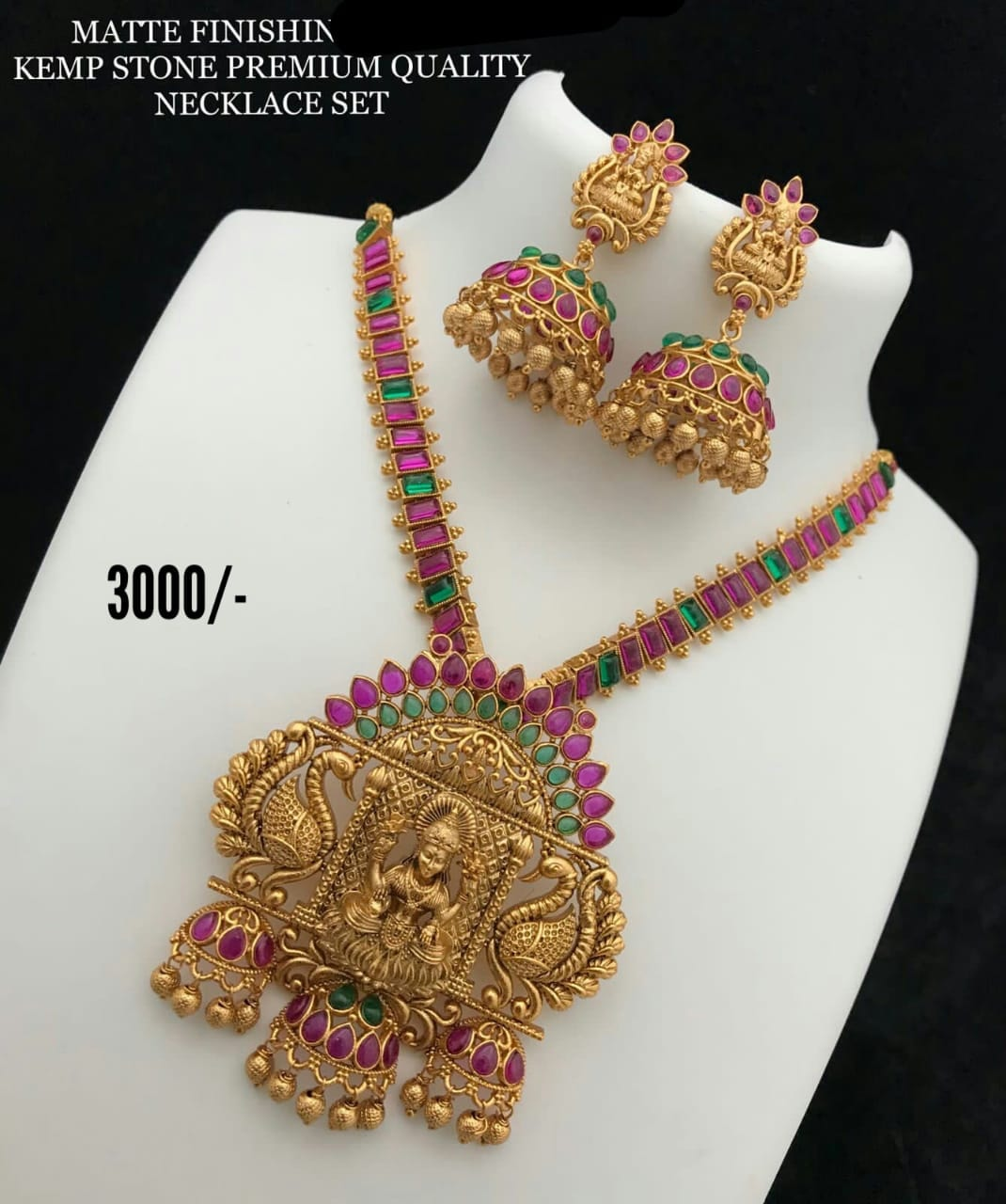 Beautiful one gram gold Lakshmi devi pendant necklace with matching jumkhis.   matte finish 1 gram gold jewellery lakshmi one gram jewellery 1 gram gold jewellery sets with price