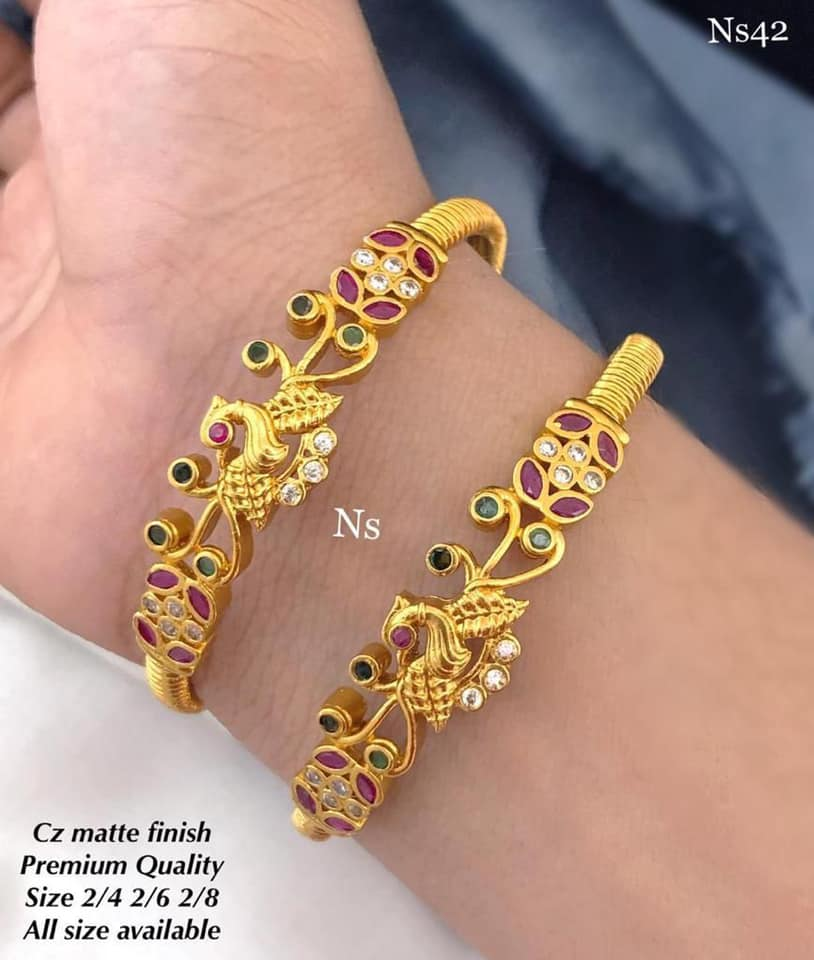 Beautiful one gram gold bangles studded with pink and green color stones. one gram gold jewellery one gram gold jewellery with price latest one gram gold jewellery
