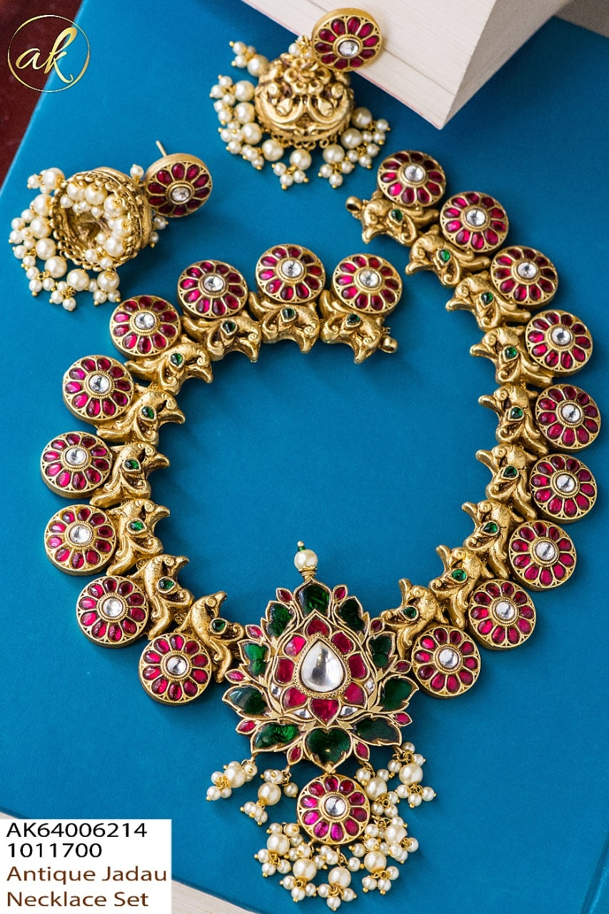 Beautiful one gram gold antique jadau necklace set. one gram gold necklace 1 gram gold sets online one gram gold necklace designs with price