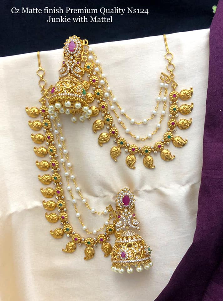 Beautiful one gram gold jumkis with champasaralu with mango hangings. one gram gold sets online 1 gram gold jhumkas with price one gram gold covering