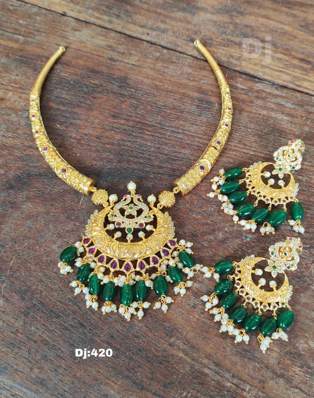 Beautiful one gram gold Kante necklace with matching chaandbalis. 1 gram gold antique jewellery 1 gram gold jewellery with price one gram jewellery