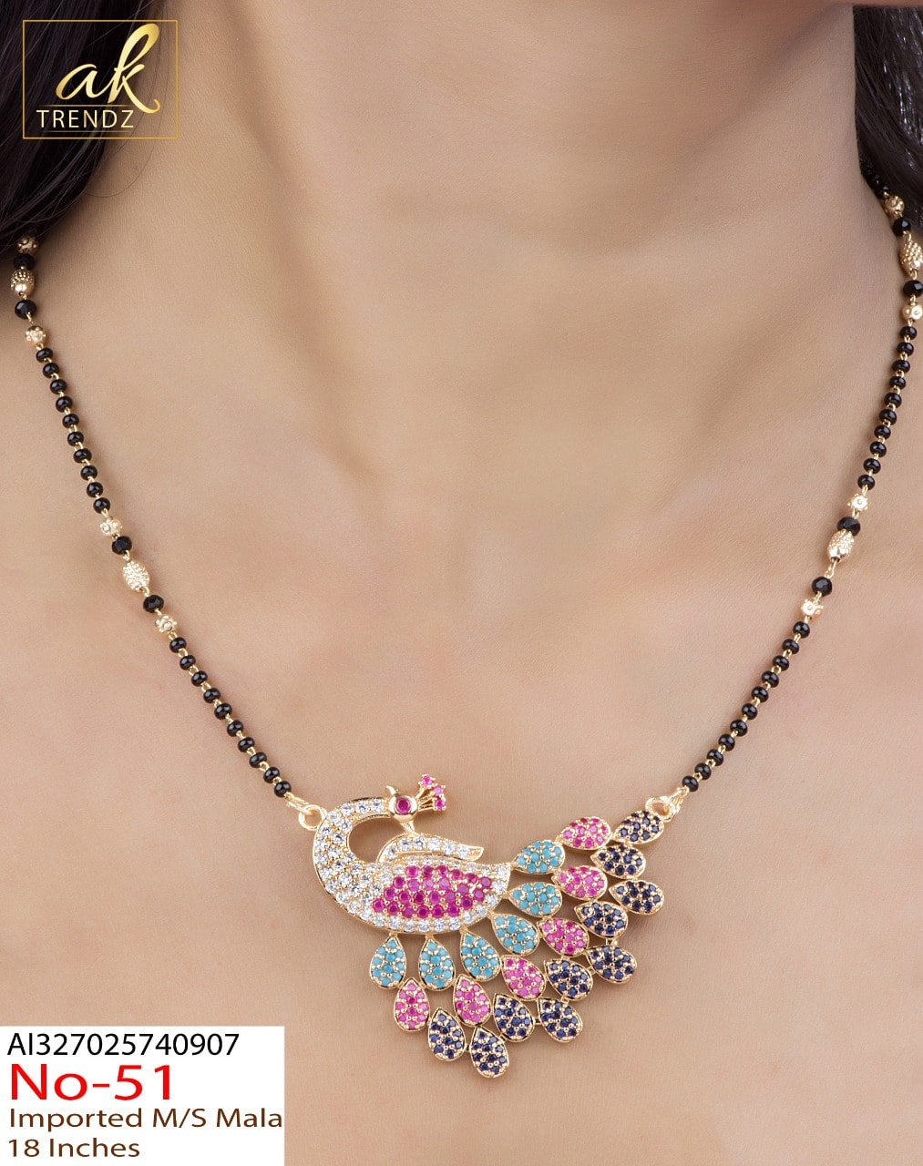 Beautiful one gram gold black bead necklace with peacock pendant.