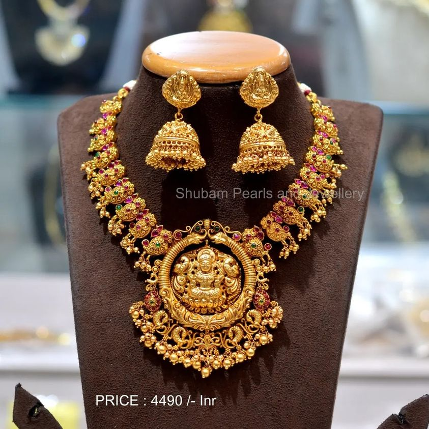 Traditional look with intricate designing and antique gold finish in premium quality 1 gram gold antique jewellery 1 gram gold jewellery with price one gram jewellery