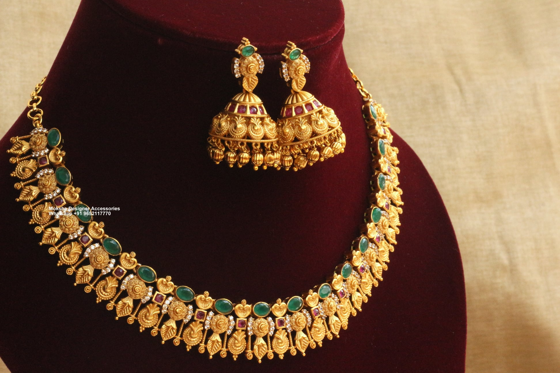 Beautiful one gram gold necklace studded with multi color stones and matching jumkhis. one gram gold antique jewellery one gram gold long necklace one gram gold ornaments online