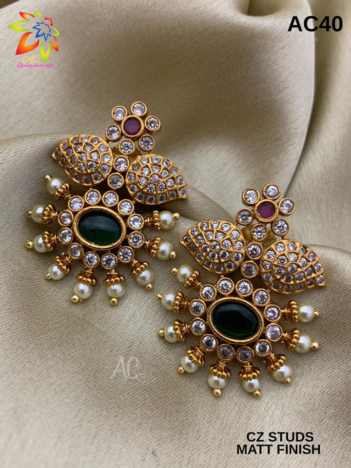 Beautiful one gram gold earrings studded with multi color CZS.     1 gram gold shop 1 gram gold ruby sets 1 gm gold chain price