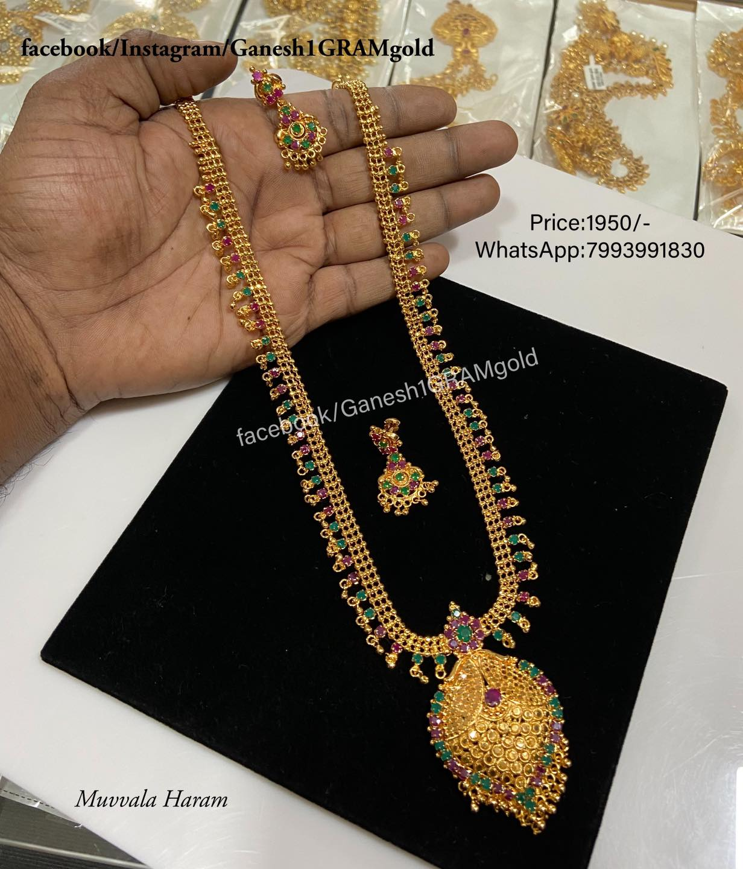 Beautiful one gram gold Muvvala haram ….(1st Quality product) Price: 2950/-  latest one gram gold jewellery one gram gold sets with price antique one gram gold jewellery