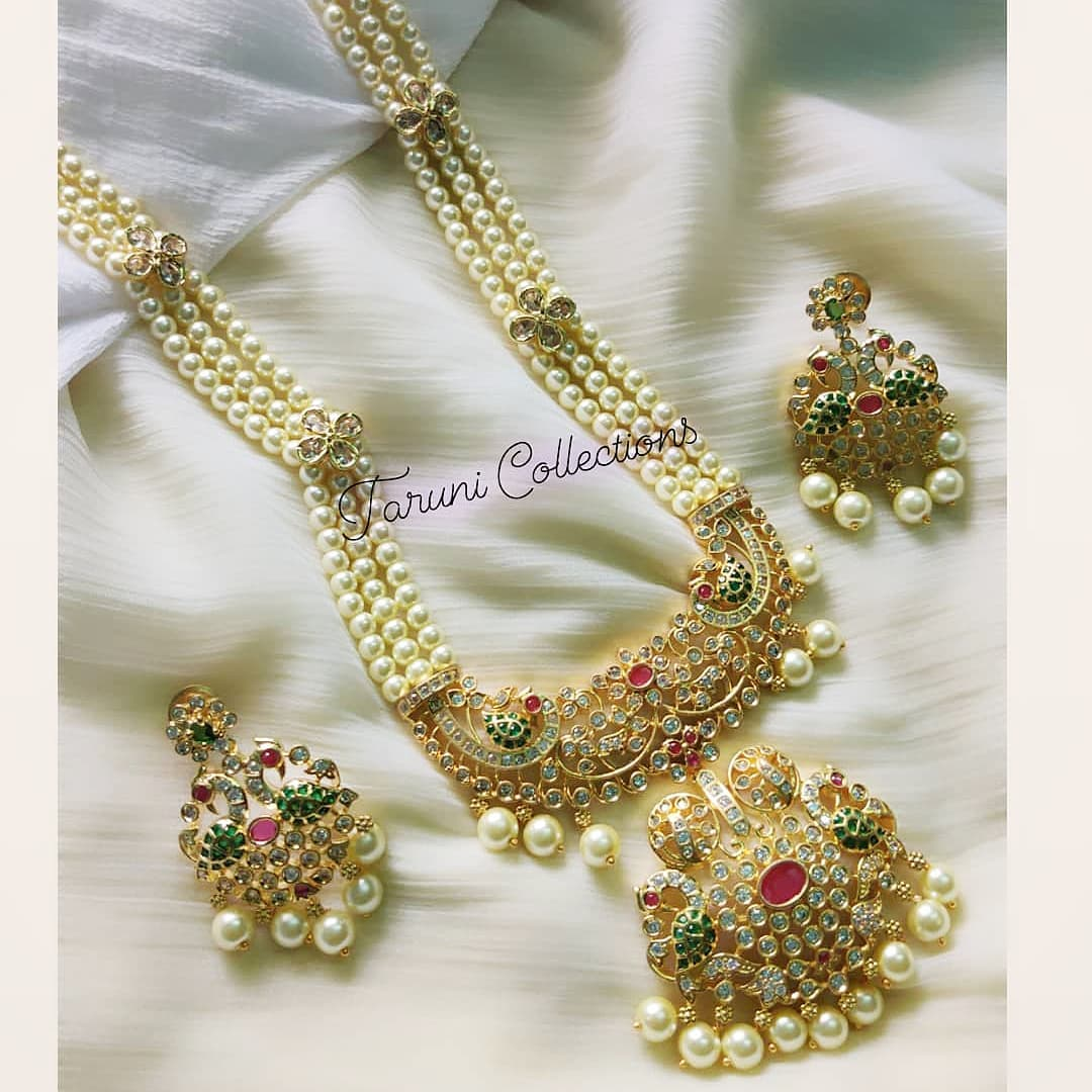 Beautiful one gram gold pearl long haaram with matching earrings. Price : 1600/- latest one gram gold jewellery one gram gold sets with price antique one gram gold jewellery