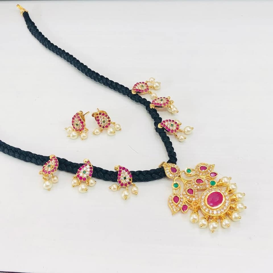 Beautiful black silk thread necklace with one gram gold motifs. 1 gram gold choker latest 1 gram gold necklace sets with price one gram gold necklace designs with price