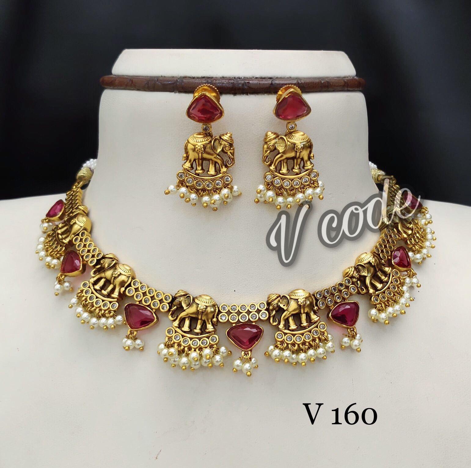 Beautiful one gram gold elephant motif necklace.  1 gram gold choker latest 1 gram gold necklace sets with price one gram gold necklace designs with price