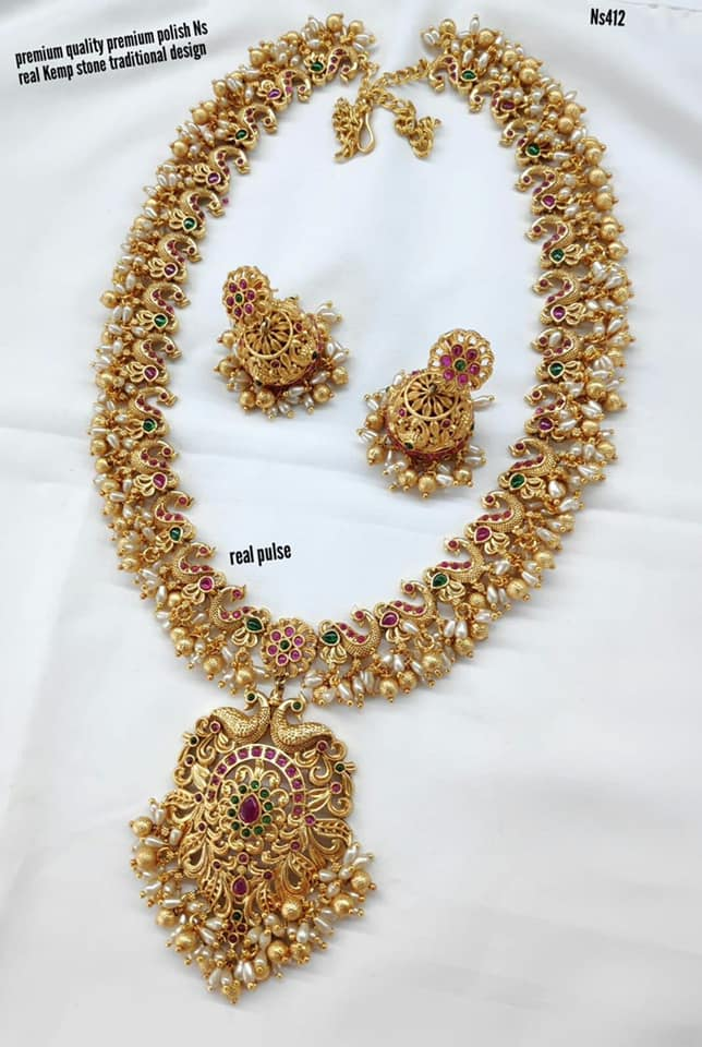 Beautiful one gram gold long haaram with guttapusalu hangings.  1 gram gold chain for baby one gram gold online one gram gold long chains