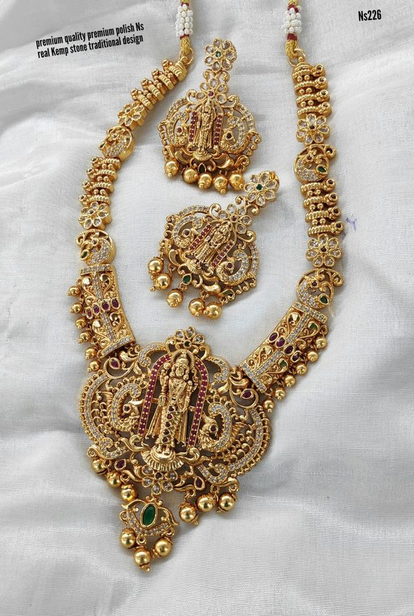 Beautiful one gram gold long haaram with lord Balaji pendant and matching earrings. 1 gram gold shop one gram gold online purchase 1 gm gold chain