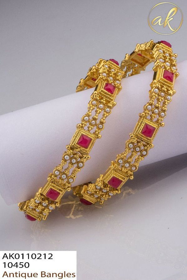 Beautiful one gram gold antique bangle studded with stones and beads. 1 gram gold jewellery bangles with price 1 gram gold items one gram jewellery with price