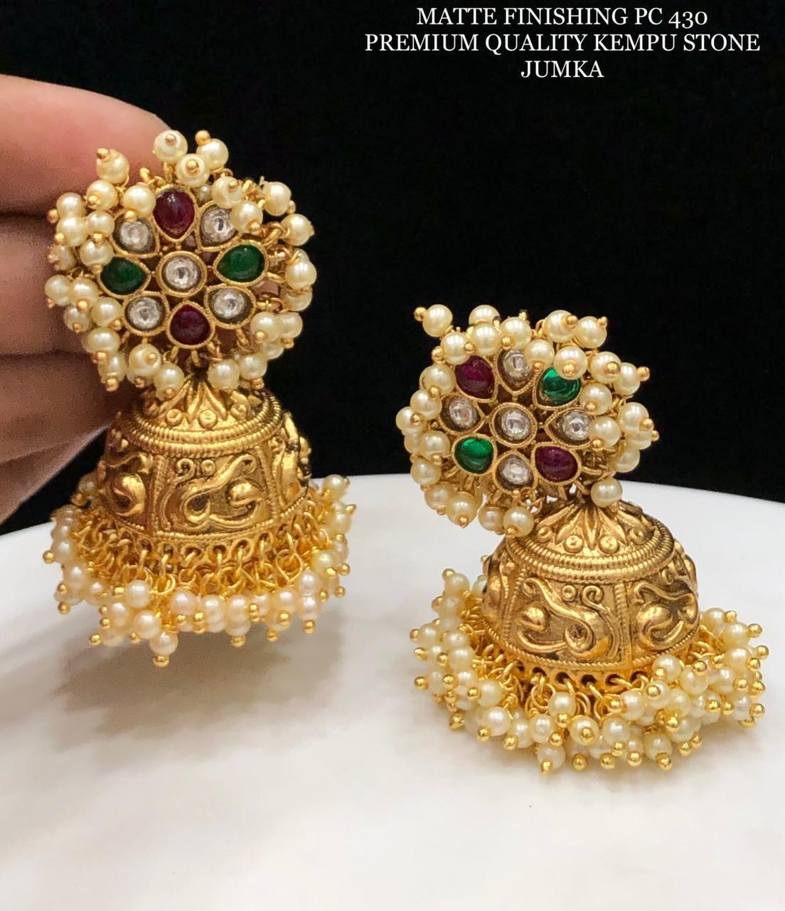 Beautiful one gram gold jumkhi with guttapusalu.