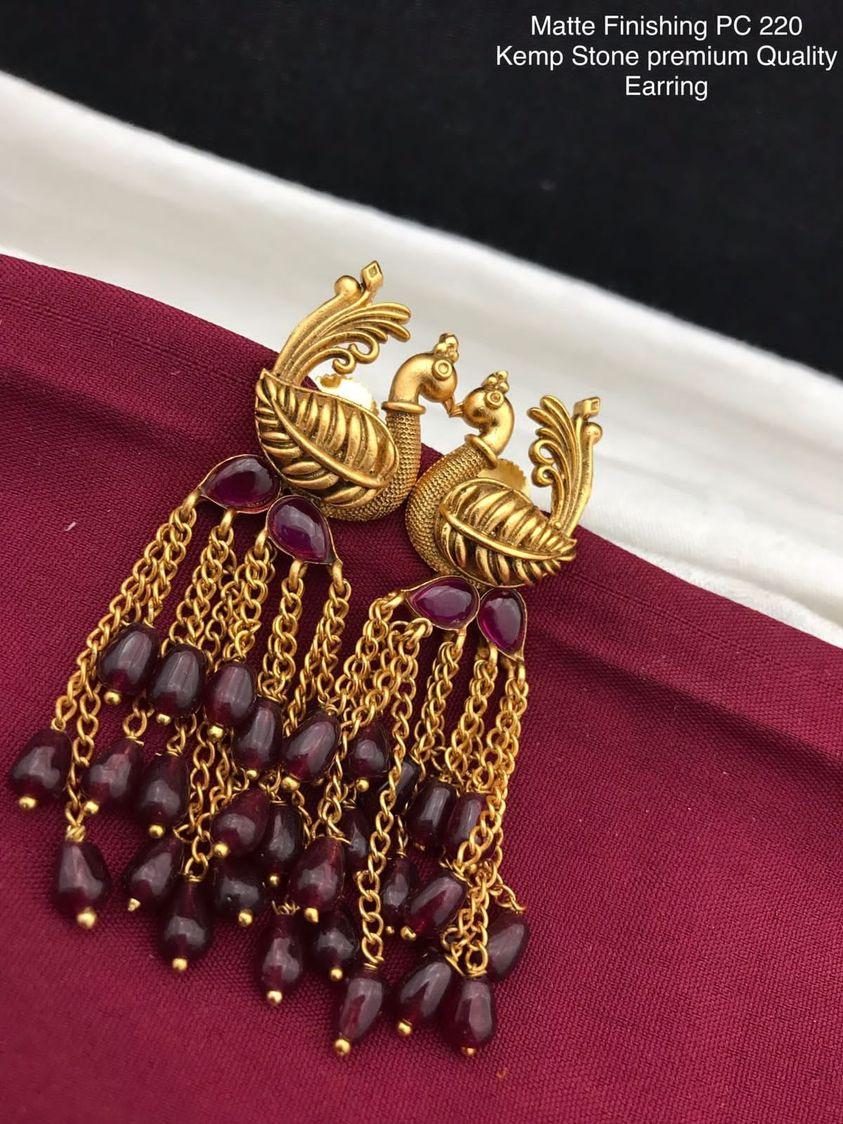 Beautiful one gram gold swan earrings. latest one gram gold jewellery one gram gold wedding jewellery sets 1 gram temple jewellery