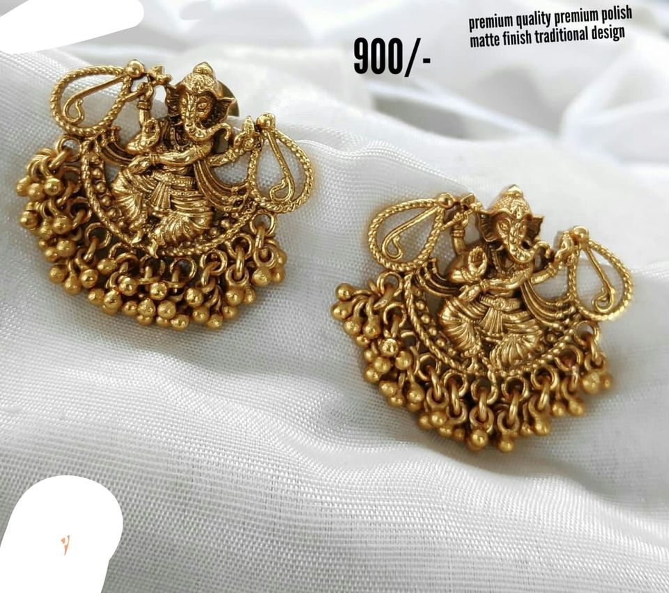 Beautiful one gram gold Lord Ganesh earrings with muvvalu hangings. latest one gram gold jewellery one gram gold wedding jewellery sets 1 gram temple jewellery