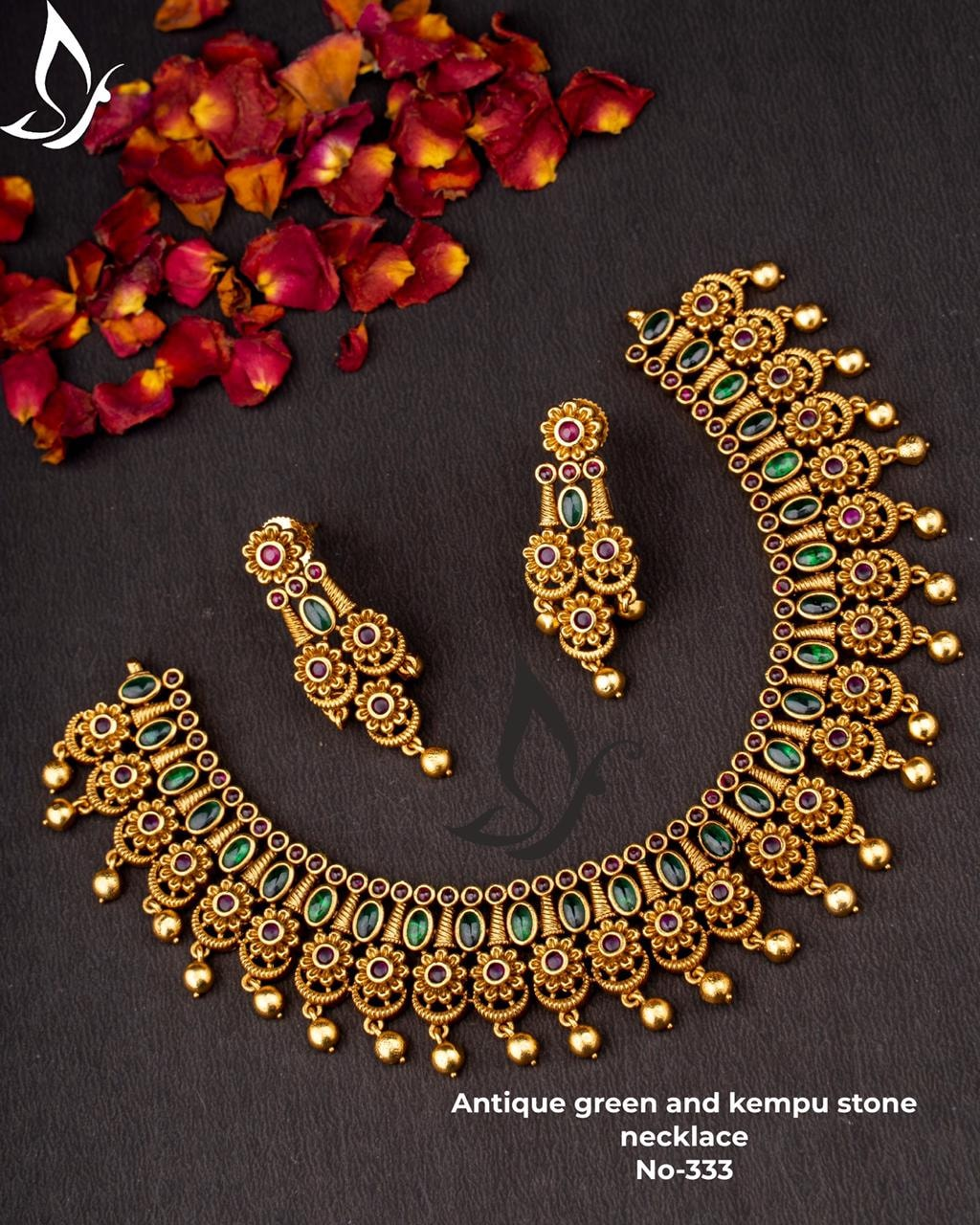 Beautiful one gram gold antique necklace studded with kempu stones and matching earrings. 16 grams gold necklace models 1 gram gold shop 1 gram gold jewellery for wedding